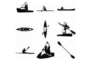 20+ Black And White Kayak Clipart
