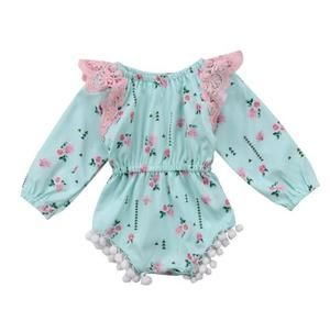 Infant Baby Girl Lace Flutter Long Sleeve Romper Bodysuit Newborn Clothes Outfit