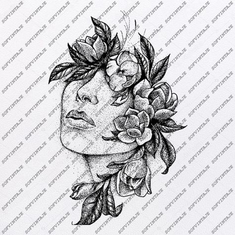 The Face in the Flowers Svg File-Woman Original Design-Wonan Clip Art-Woman Svg Files-Woman Clipart-Svg For Cricut-For Silhouette -DXF – EPS – tattoos for women half sleeve Unique Half Sleeve Tattoos, Quarter Sleeve Tattoos, Japanese Sleeve Tattoos, Full Sleeve Tattoos, Tattoo Sleeve Designs, Japanese Flower Tattoos, Unique Women Tattoos, Hip Tattoo Designs, Tattoo Sleeves