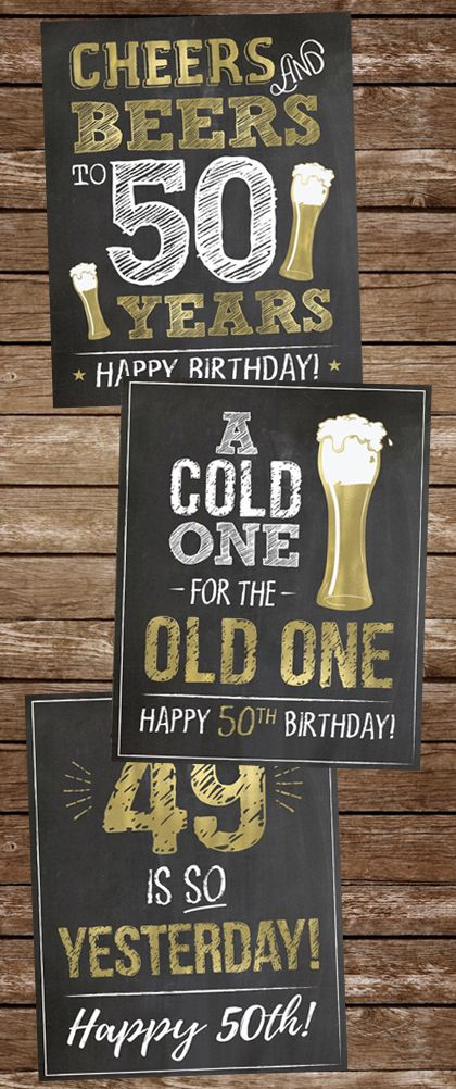 Beer Theme Chalkboard Sign Cheers and Beers to 50 Years Printable Share a Memory Cards 50th Birthday Memories Cards and Sign