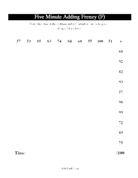 Timed Addition Fact Worksheets Addition Worksheet  Five Minute