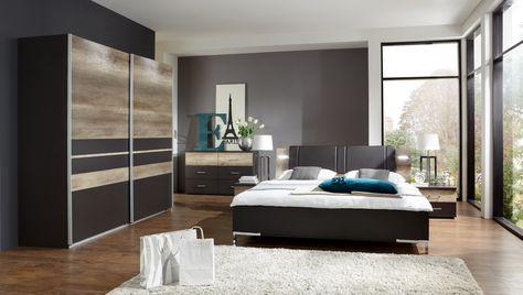 Schlafzimmer Mit Bett 180 X 200 Cm Lavafarbig\/ Wildeiche Woody 132 - schlafzimmer bett modern