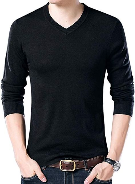 8f2f2cb006 Yeokou Men s Casual Slim V Neck Winter Wool Cashmere Pullover Jumper Sweater  (X-Small