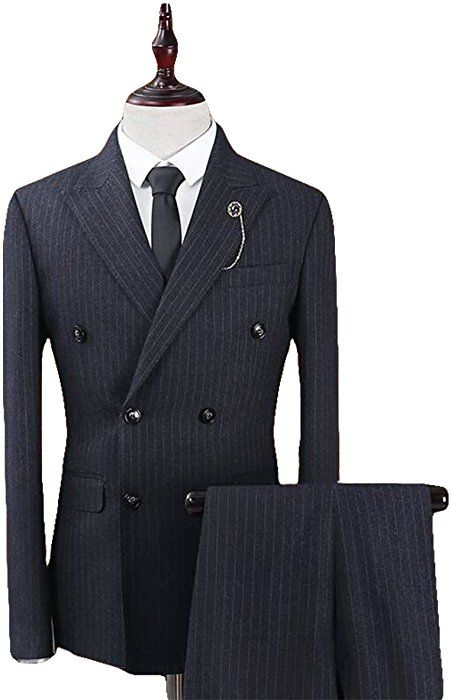 46c1c2951e62e YFFUSHI Mens Plaid 3 Piece Suits Double Breasted Retro Slim Dress at ...