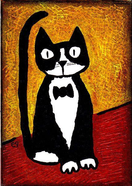 'formal attire' e9Art ACEO Tuxedo Cat