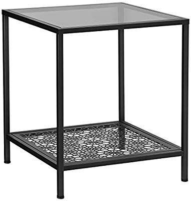 Amazon Com Songmics Side Table Glass Black Kitchen Dining In