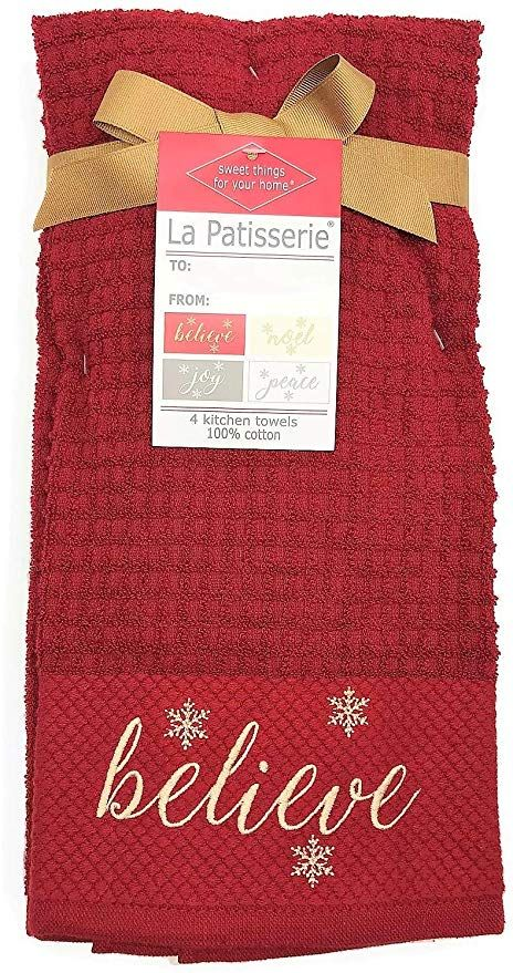 Deborah Connolly Designs Believe Embroidered Christmas Holiday Kitchen Towel Set