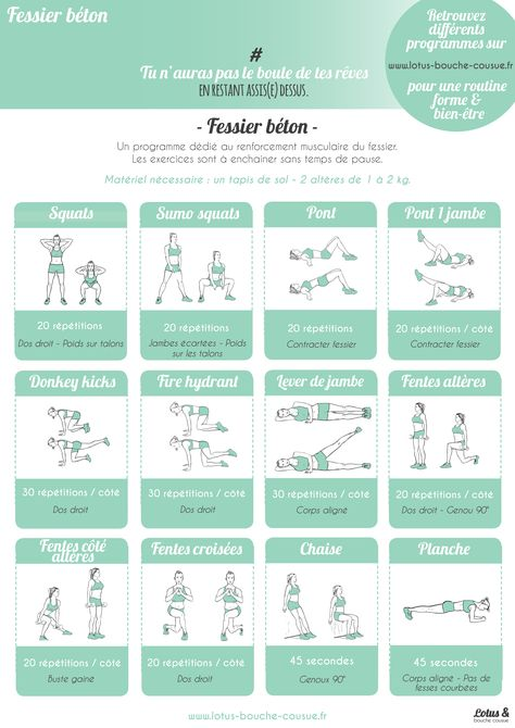 Programme fessier béton : découvrez une fiche d'exercices à faire en salle ou chez soi, afin de raffermir son fessier de manière efficace.
