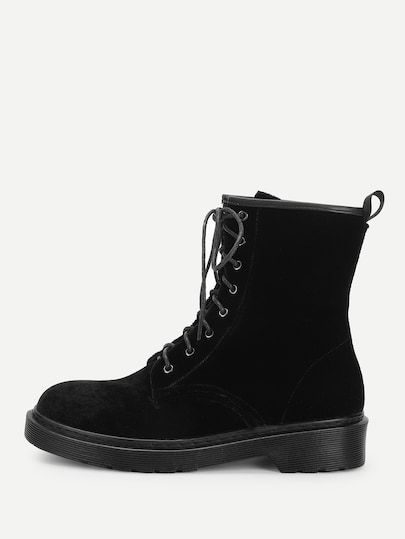 fa2451fc86 Shop Lace-Up Plain Boots online. SheIn offers Lace-Up Plain Boots & more to  fit your fashionable needs.