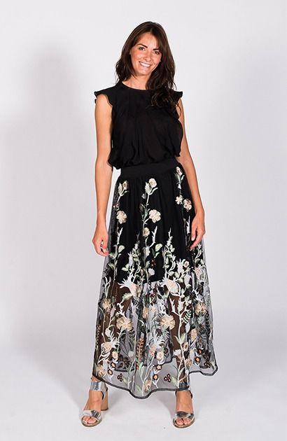 robe longue brodée fleurs maje