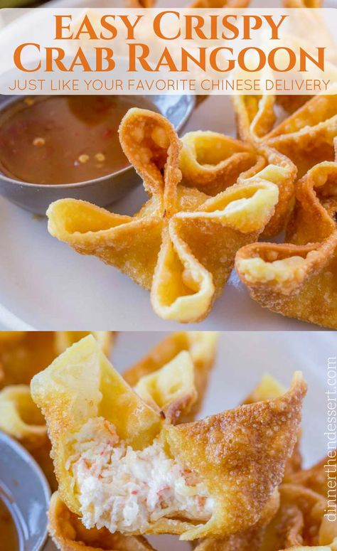 Crab Rangoon - Dinner, then Dessert Crab Rangoon are crab and cream cheese wontons with green onions pinched into little purses and deep fried, these are the perfect Chinese restaurant copycat recipe served with sweet and sour sauce or sweet chili sauce. Wonton Recipes, Seafood Recipes, Appetizer Recipes, Cooking Recipes, Recipes With Wonton Wrappers, Wanton Wrapper Recipes, Wonton Sauce Recipe, Chilis Restaurant Recipes, Lump Crab Meat Recipes