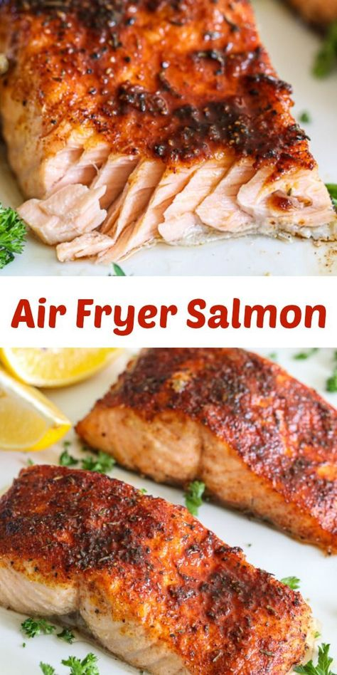 This Flaky Air Fryer Salmon is a quick, healthy, and delicious meal. You& love the convenience and amazing flavors in this seafood recipe. Air Fryer Oven Recipes, Air Frier Recipes, Air Fryer Dinner Recipes, Air Fryer Recipes Ground Beef, Oven Salmon Recipes, Salmon Recepies, Air Fryer Recipes Salmon, Convection Oven Recipes, Cooked Shrimp Recipes