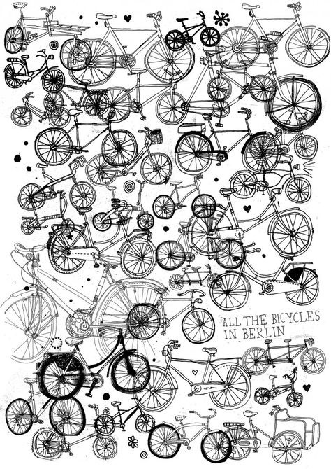 """""""I want to ride my bicycle, I want to ride my bike"""" All the bicycles in Berlin by James Gulliver Hancock"""