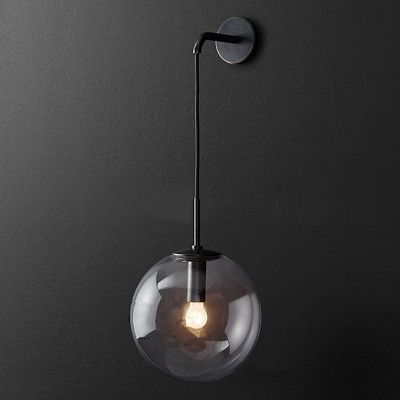 Glass Globe Wall Sconce Industrial Single Suspender Wall Lighting