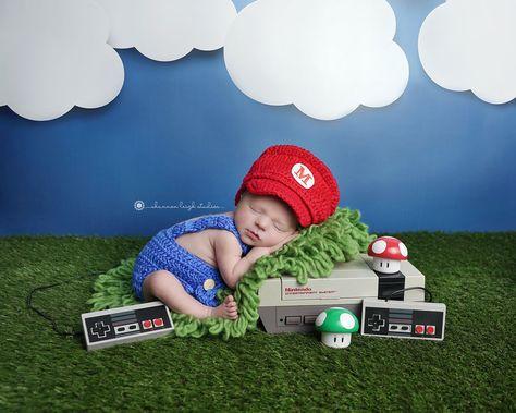 Baby Clouds Photography Backdrop - Super Mario, Nintendo, Clouds, Grass, Newborn