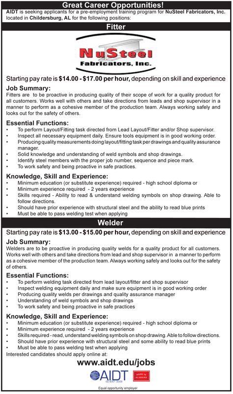 Austal jobs in Mobile, Al Apply online at wwwaidtedu\/jobs - welder job description