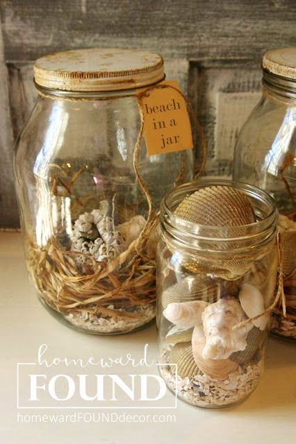 A Perfect Souvenir Of Your Beach Vacation Beach In A Jar Is An Easy Charming Diy Home Decor Project Seashell Display Jar Display Displaying Collections