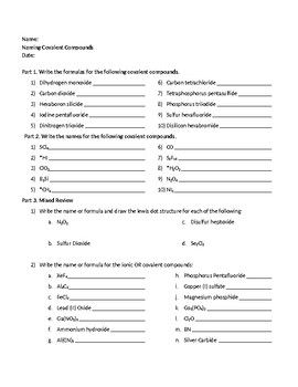 Naming Formula Writing with Covalent Compounds | Chemistry ...
