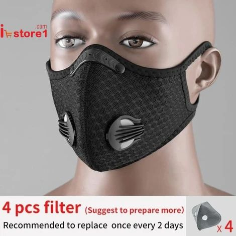 Trendy Outdoor Anti Haze Ventilate Mouth-muffle Antidust Cotton Mask with Filter