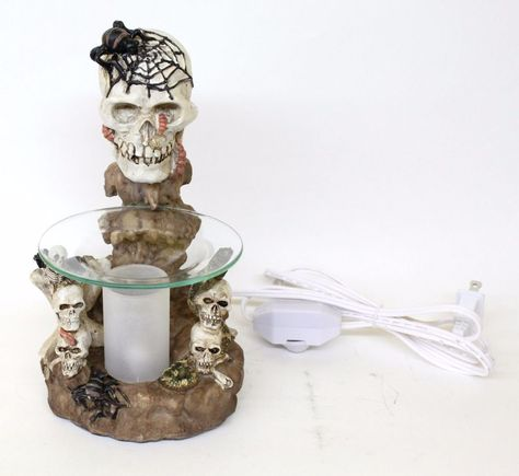 "9.5"" Tall Skeleton Skull Electric Oil Warmer Burner Wax Aromatherapy Statue"