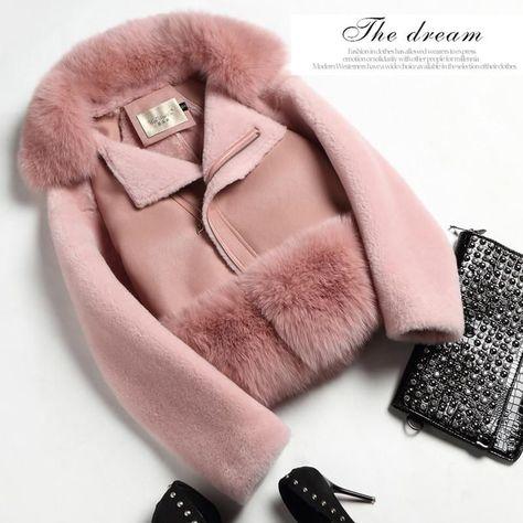 Autumn And Winter New 2017 Real Natural Sheep Fur Integrated Short Jacket Real Natural Fox Fur Collar Short Sheep Leather Jacket