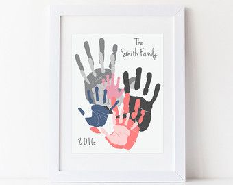 7 Handprint Family Portrait Wall Art, Gift for Dad, Mom, Grandparents, Personalized Home Decor, Your Actual Hand Prints 11x14 in, UNFRAMED