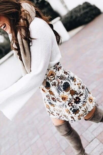 Ivory Bell Sleeve Sweater - Floral Mini Skirt - Topshop Mini Skirt This ivory bell sleeve sweater is SO SOFT it's a dream! When paired with this floral mini skirt and OTK boots it becomes a retro yet modern oh-so-fab look!