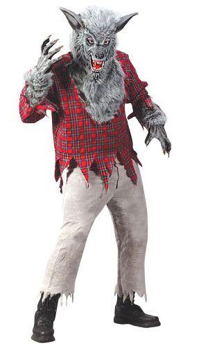 #Wolf Mask Fur Brown White Grey Midnight Werewolf Halloween Horror Fancy Dress