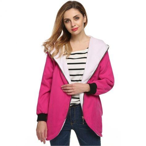 Finejo Stylish Women Irregular Slim Zipper Hooded Fleece Coat Overcoat Jacket