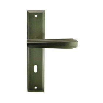 2 Poignées De Porte Art Déco Trou De Clé Aluminium 195 Mm