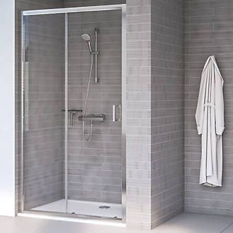 Aqualux Edge 8 Sliding Shower Door Polished Silver 1000 X 2000mm In 2020 Shower Doors Frameless Sliding Shower Doors Shower Recess
