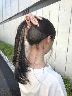 個性的 モード 黒髪 インナーカラーグレー 黒髪 インナーカラー