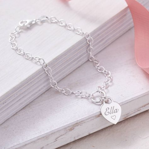 Personalised Sterling Silver Heart Charm Bracelet