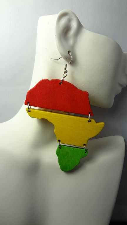 12 Flags Africa Map Earrings Ghana Africans and Fashion Accessories