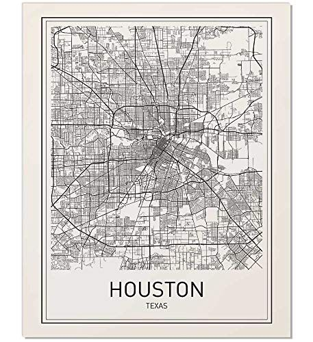 Houston Poster Houston Map Map Of Houston City Map Posters