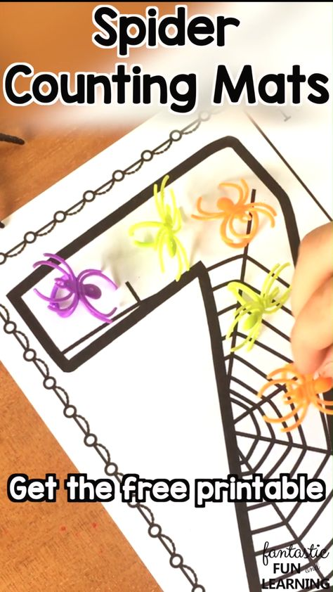 Free printable spider counting numbers mats for Halloween and spider theme activities in preschool