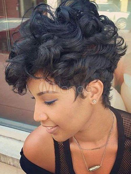 Black Afro Wig Layered Barrel Curls Short Women Human Hair Wig Short Hair Styles Pixie Short Hair Styles Hair Styles