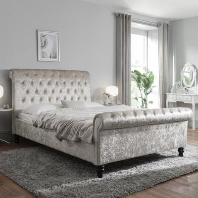 Double Crushed Velvet Sleigh Bed Frame Champagne Crushed