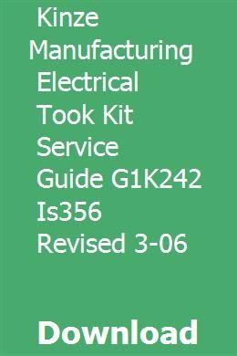 Kinze Manufacturing Electrical Took Kit Service Guide G1k242 Is356