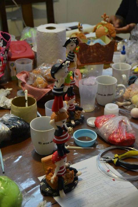 Porcelana fria polymer clay pasta francesa masa flexible fimo fondant gum paste topper  modelado modelling figurine pirates totem piratas