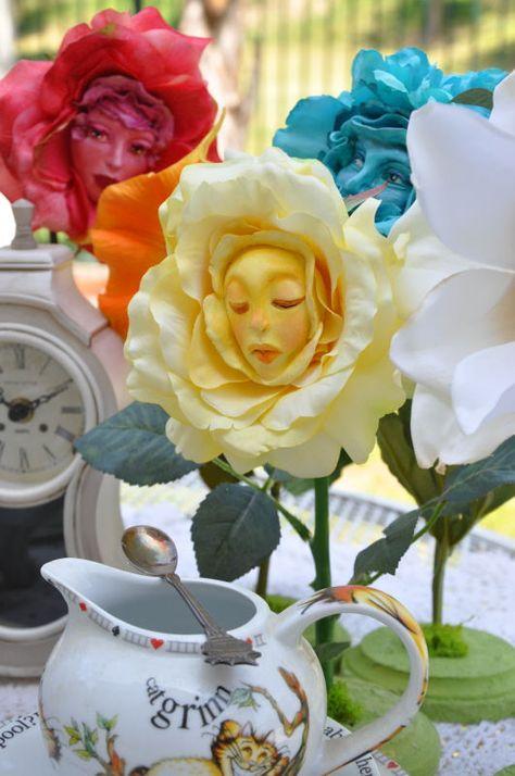 Alice in Wonderland Talking Flowers smiling Sugar Skull ~ By Sutherland