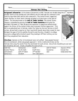 Vietnam War Writing Worksheet With Images Vietnam War Veterans