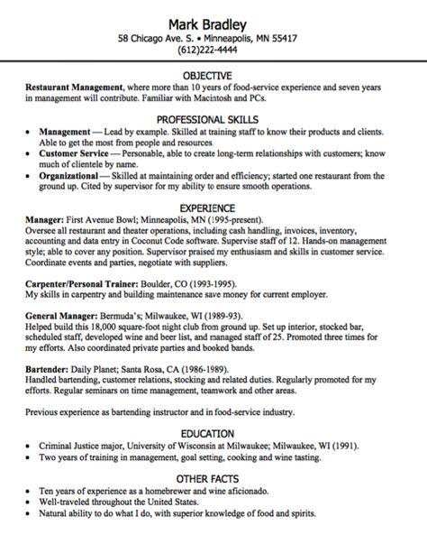 resume for bartending