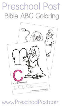 FREE ABC Bible Coloring/Handwriting on PreschoolPost