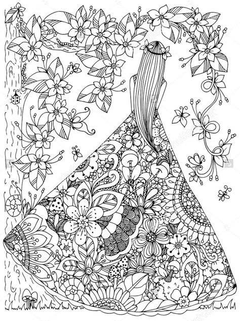 zentangle tree on a hill  shutterstock Coloring pages Pinterest - copy coloring pictures of flowers and trees