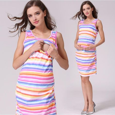 Women Pregnancy Striped Breastfeeding Casual Sleeveless Dress Maternity Clothes