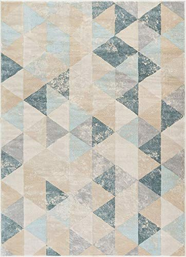 Well Woven Melody Mint Blue Geometric Tile Modern 8x11 7 10 X 10 6 Area Rug Mint Blue Triangles Iso Contemporary Carpet Modern Rugs Contemporary Area Rugs