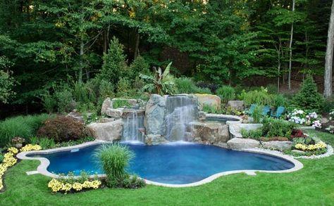 Gartenpool Wasserfall Steine Schwimmbecken | Sziklakert Vízeséssel |  Pinterest | Garten