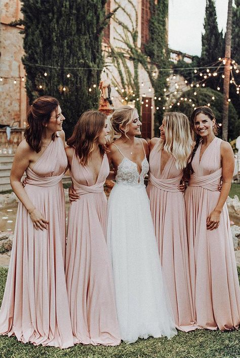 wedding dress pink Elegant A Line V-Ausschnitt Elastic Satin Pink Pleats Lange Braut .- Elegant A Line V Neck Elastic Satin Pink Pleats Long Bridesmaid Dresses Elegant A Line V-Ausschnitt Elastic Satin Pink Plissee Lange Brautjungfernkleider - Mix Match Bridesmaids, Light Pink Bridesmaid Dresses, Blush Pink Bridesmaid Dresses, Wedding Bridesmaids, Wedding Dresses, Dresses Dresses, Beach Dresses, Evening Dresses, Bridesmaid Outfit