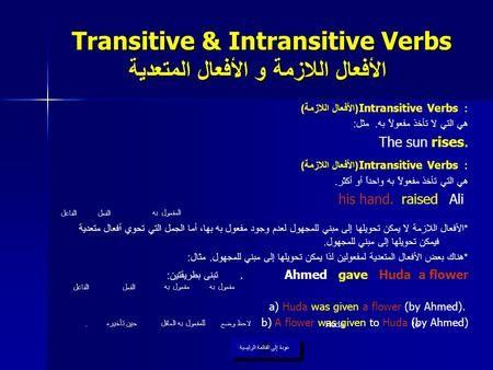 Transitive Intransitive Verbs الأفعال اللازمة و الأفعال المتعدية Intransitive Verb English Grammar Grammar